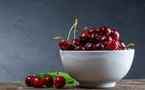Picture cherry, berries, table, background, Cup, white, bowl, fruit, placer, cherry, ripe, bowl