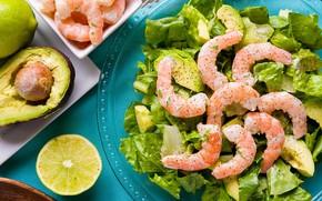Picture lime, salad, shrimp, avocado