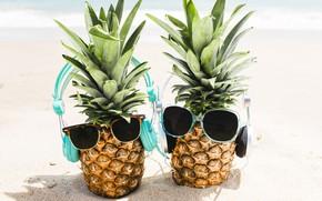 Picture sand, sea, beach, summer, stay, headphones, glasses, summer, pineapple, happy, beach, vacation, sea, headphones, sand, …