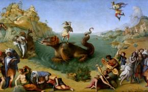 Picture picture, mythology, Piero di Cosimo, Персей освобождающий Андромеду, Пьеро ди Козимо
