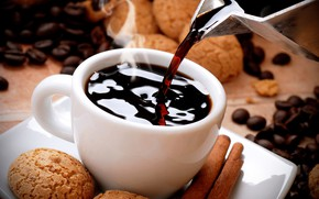 Picture coffee, grain, cookies, Cup, cakes