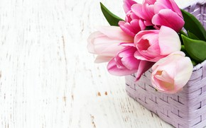Picture table, tulips, pink, basket, wood, Olena Rudo