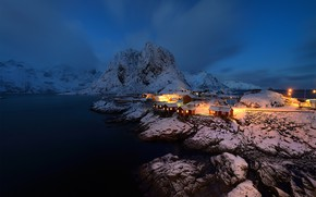 Picture the sky, light, mountains, night, lights, darkness, blue, stones, rocks, shore, Norway, lights, houses, pond, ...