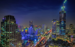 Wallpaper landscape, night, the city, lights, building, beauty, Thailand, Bangkok
