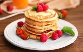 Picture raspberry, pancakes, pancake