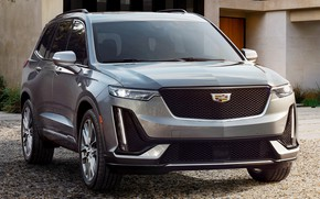 Picture machine, grey, lights, Cadillac, front, grey, crossover, Cadillac XT6, Cadillac XT6 Sport