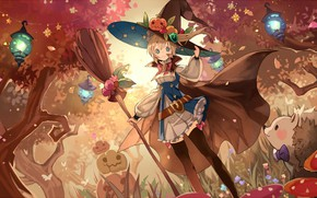 Picture girl, holiday, anime, art, Halloween
