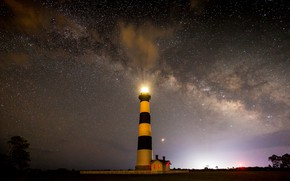 Picture stars, lighthouse, the milky way