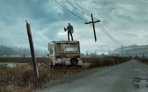 Picture road, the sky, cross, the opposition, Stephen king, wire. power lines, the stand, рендал флегг