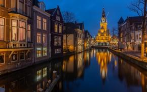 Picture lights, the evening, channel, Netherlands, Holland, Alkmaar
