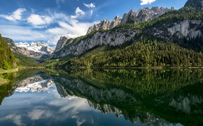 Picture forest, mountains, lake, reflection, Austria, Alps, Austria, Alps, Lake Gosau, Upper Austria, Upper Austria, Lake …