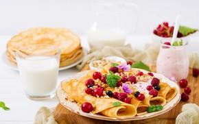 Picture berries, food, Breakfast, pancakes, yogurt, Timolina