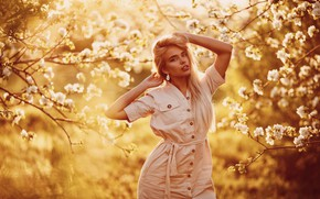 Picture trees, pose, Girl, Sergey Sorokin, Luba Ivanova