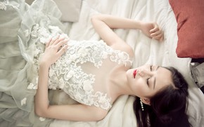 Picture girl, face, pose, style, stay, pattern, sweetheart, white, hair, bed, sleep, hands, dress, brunette, sleeping, …