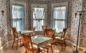 Picture room, furniture, Windows, chairs, interior, tables, curtains, dining room, Bay window