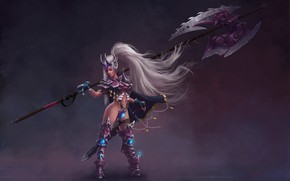 Picture girl, weapons, armor, warrior, warrior, League of Legends