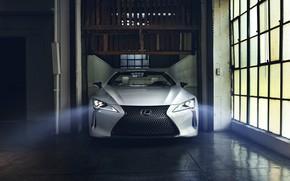 Picture white, Lexus, convertible, front view, 2019, LC Convertible Concept