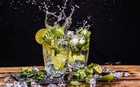 Picture ice, splash, lime, glasses, drink, mint, mahito