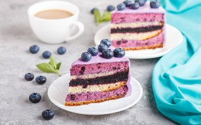 Picture berries, coffee, blueberries, cake, cream, souffle