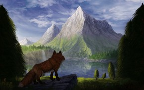 Picture mountains, nature, lake, Fox, by CreeperMan0508