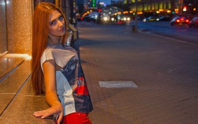 Picture city, shorts, cars, beetle, model, street, redhead, pose, t-shirt, Carinela