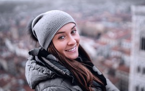 Picture roof, look, girl, smile, background, hat, height, portrait, home, makeup, scarf, jacket, hairstyle, hood, brown …