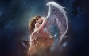 Picture Girl, Angel, Girl, Wings, Background, Fantasy, Fiction, Angel, Wings, madeinkipish, Hosne Qanadelo, by Hosne Qanadelo, …