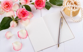Picture style, roses, bouquet, handle, beads, diary