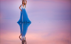 Picture water, pose, reflection, background, model, portrait, makeup, dress, hairstyle, brown hair, beauty, is, blue, Alex …