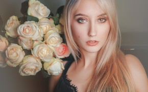 Picture look, girl, flowers, face, hair, portrait, roses, blonde, Alexander Drobkov-Light, Christina Ladiko