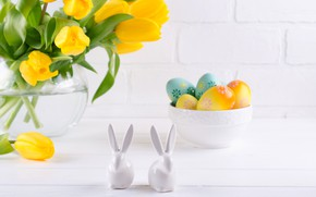 Picture holiday, rabbit, Easter, tulips, composition
