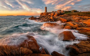 Picture stones, coast, France, lighthouse, Brittany, Ploumanach