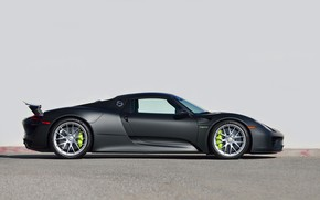 Picture Black, Supercar, 2015, Side View, PORSCHE 918, SPYDER, WEISSACH