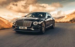 Picture Bentley, Black, Sedan, Front, Flying Spur, 2020, Dark Sapphire