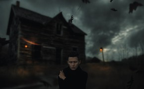Picture leaves, the wind, guy, old house, Alexander Shark