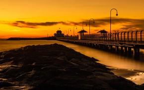 Picture sea, beach, sunset, Pierce