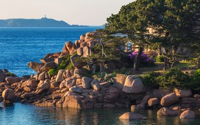 Picture sea, the sky, the sun, trees, stones, coast, France, horizon, house, Brittany, Saint-Guirec