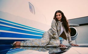 Picture girl, pose, smile, the plane, hair, beauty, Hailee Steinfeld