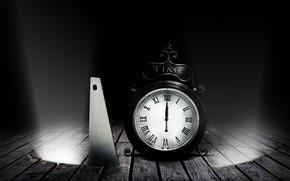 Wallpaper darkness, Board, watch, alarm clock, floor, saw, rays of light, midnight, hacksaw