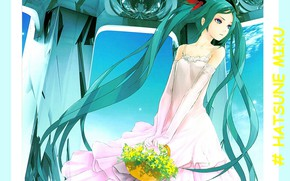 Picture vocaloid, Hatsune Miku, Vocaloid, blue hair, ruffles, Hatsune Miku, white sundress, gloves elbow, yellow flowers, …