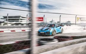 Picture Blue, Machine, Drift, Car, Render, GT2, Porsche 911, Rendering, Sports car, Race Car, Blue color, …