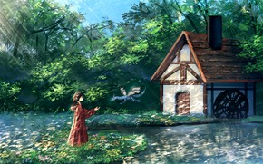Picture nature, fantasy, girl, house, dragon