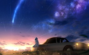 Picture auto, the sky, girl, sunset