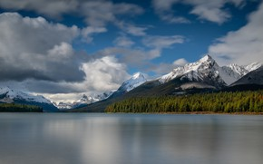 Picture forest, mountains, lake, shore, beauty, Canada, top, national Park, Banff