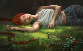 Picture forest, girl, snake, fantasy, art, Illustrator, Alex Shiga, A slumber