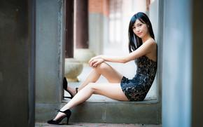 Picture girl, Asian, cutie, figure, beautiful legs, bike