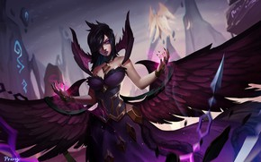 Picture Girl, Magic, Wings, Art, Art, Fiction, League of Legends, Magic, Morgana, LOL, Character, Wings, Morgan, …