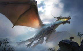 Picture the sky, flight, dragon, people, wings, power, fantasy, art