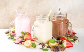 Picture berries, jars, fruit, smoothies