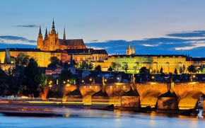 Picture lights, the evening, Prague, Czech Republic